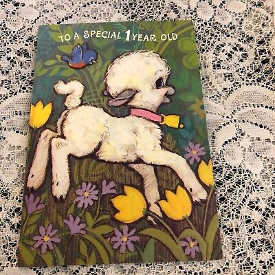 Vintage Greeting Card Birthday 1st Lamb Sheep Flowers Bird Hallmark