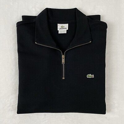 Lacoste Men's Regular Fit Half Zip Cotton Pullover Sweater Black Size 6/XL NWOT