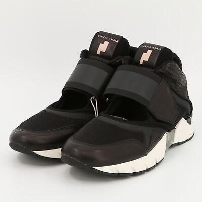 Cinzia Araia Black Women's Leather & Techno Fabric Sneakers New