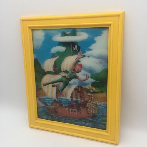 "VINTAGE PETER PAN 8""x10"" Hologram Lenticular Picture Pirate Ship DISNEY"