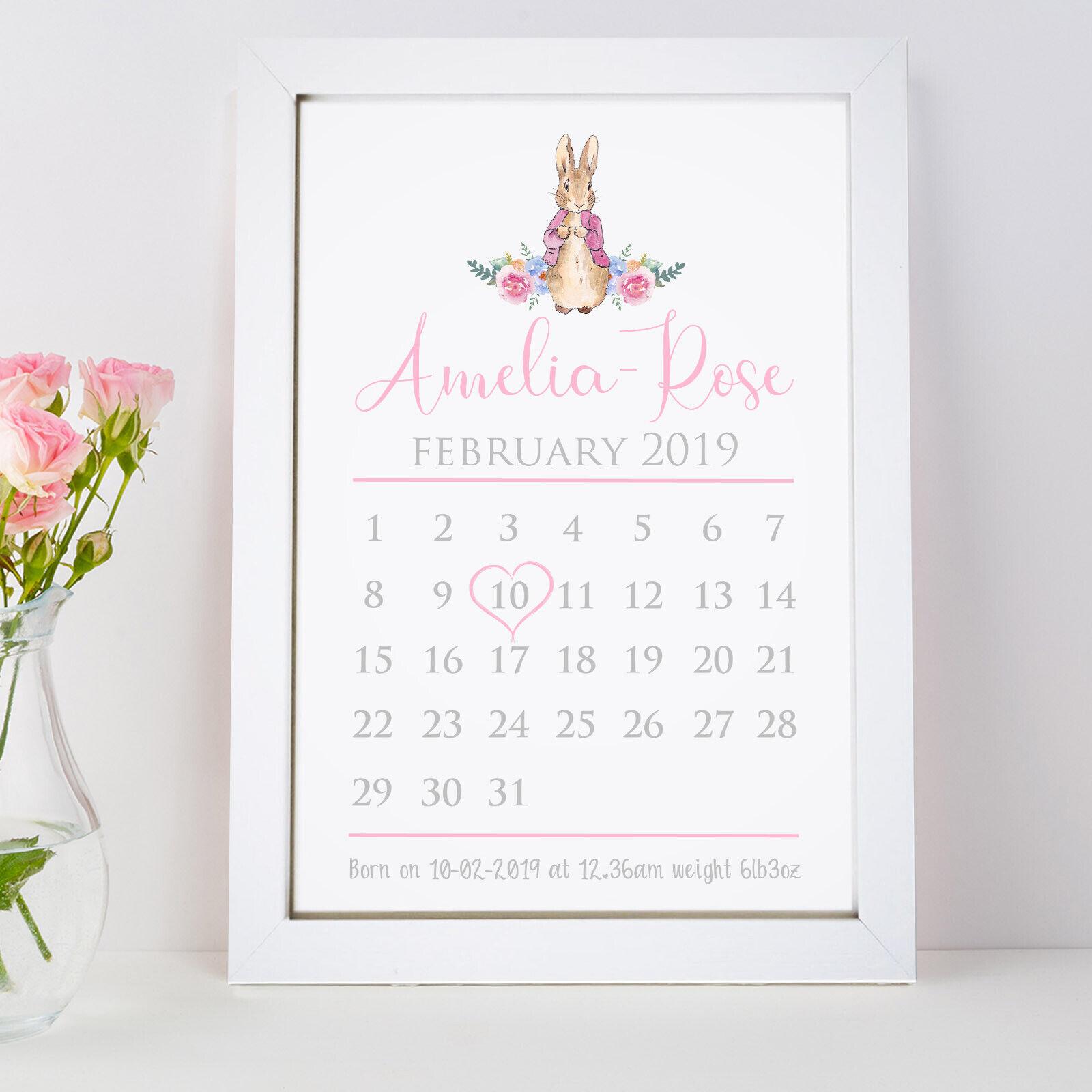 Personalised Peter Rabbit Print Baby Boy Girl First Birthday