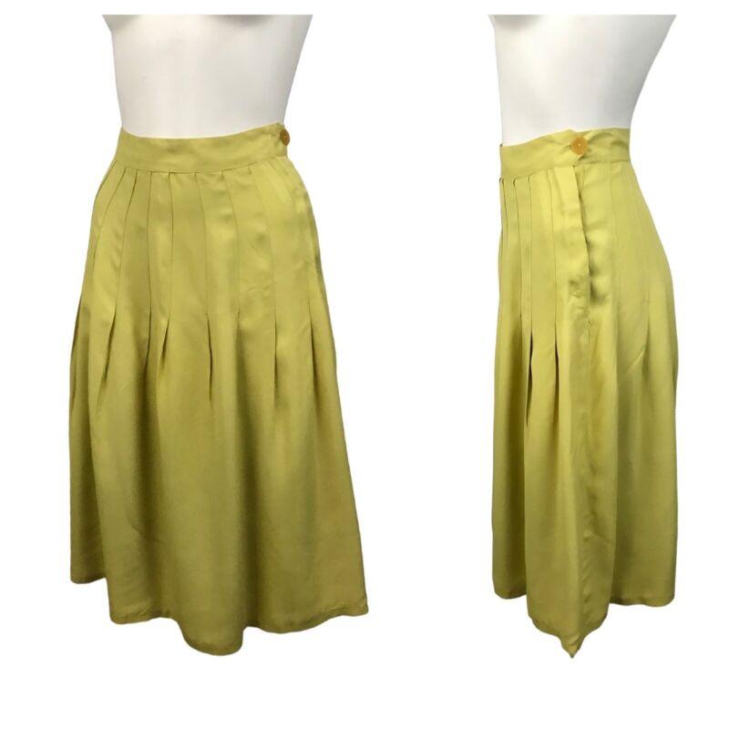 1930s Skirt / Chartreuse Pleated Skirt / High Waist Below Knee Skirt / XS