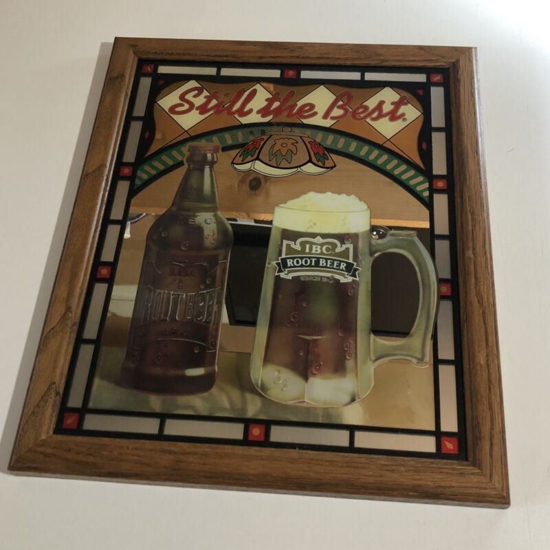 Vintage IBC Rootbeer Stainglass Mirror Collectible