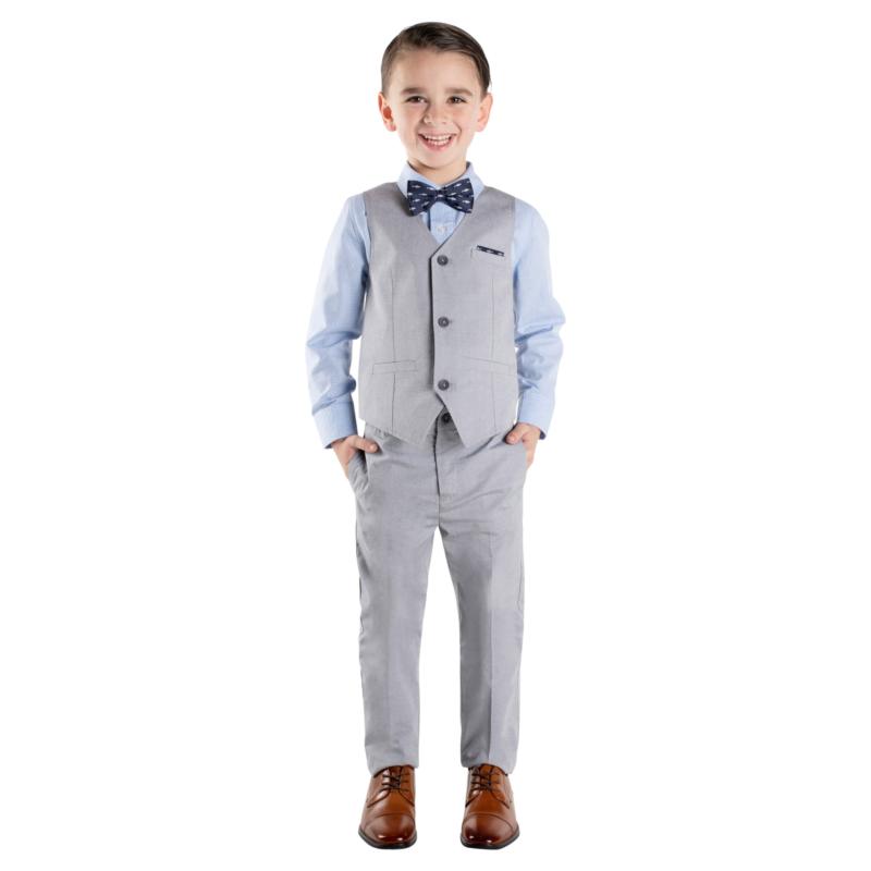 Boys Suit Formal Toddler Vest 4-Piece Kids Suit Set CHOOSE SIZE Adjustable Waist