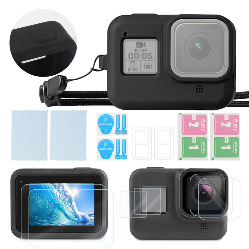 For GoPro Hero 8 Black Protective Case Silicone Housing Shell Cover+Screen Film