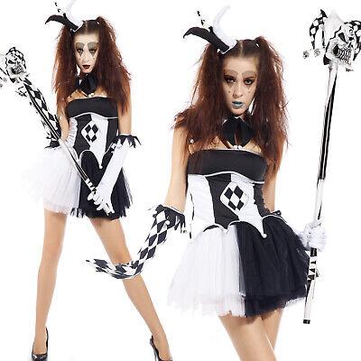 Women Tricksterina Harlequin Jester Costume Circus Clown Fancy Dress Halloween (Harlequin Jester Halloween Costume)