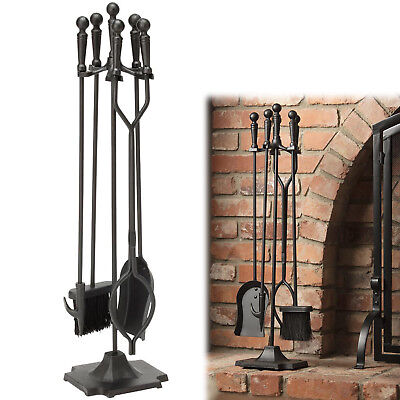 5 PIECES FIREPLACE TOOL SET Iron Fire Place Cleaning Kit Ball Handles Steel Acce ()