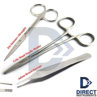 3pcs Kit Suture Removal Surgical Needle Holder Iris Scissor Tissue Forceps Adson
