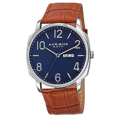 Men's Akribos XXIV AK801BRB Classic Quartz Day & Date Brown Leather Strap Watch