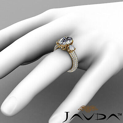 Women's 3 Stone Pave Set Oval Cut Diamond Engagement Ring GIA F Color VS2 3.8Ct 7