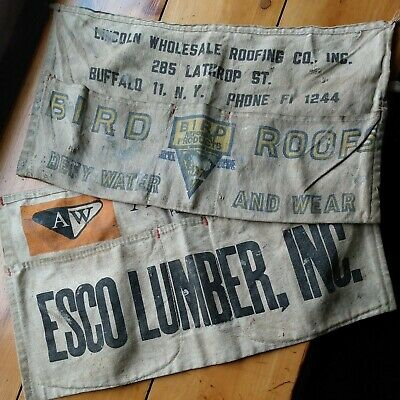 2 Vintage Canvas Advertising Shop Nail aprons Bird Roofs Esco Lumber
