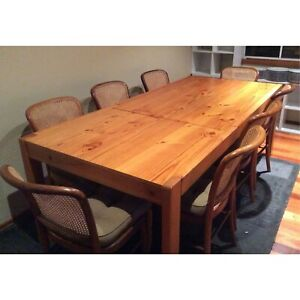 Retro extendable pine dining table and 8 timber rattan dining chairs