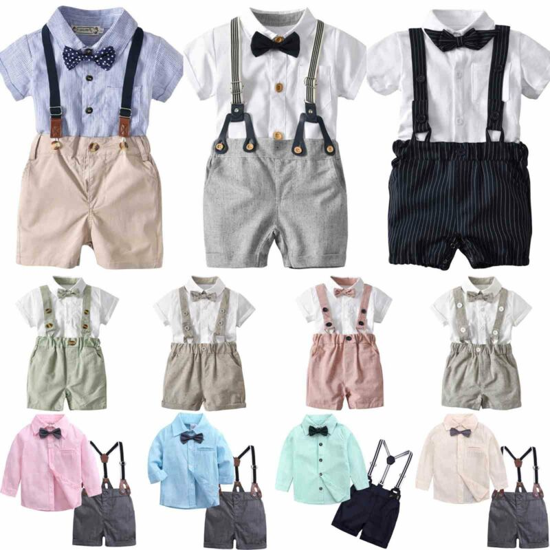 Newborn Infant Baby Boy Kid Gentleman T-shirt Tops+Bib Pants