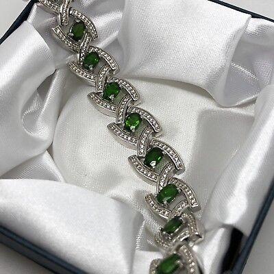 """New 925 Sterling Silver Green Diopside & White Spinel Link Bracelet 7.25"""""""