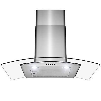 "30"" Wall Mount Stainless Steel Push Panel Kitchen Range Hood Cooking Fan"