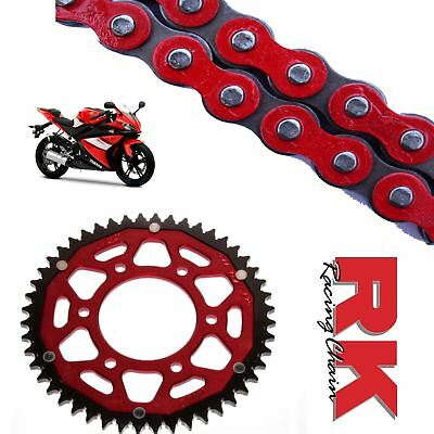 <em>YAMAHA</em> YZF R125 CHAIN AND SPROCKET KIT RED RK RACING RED ZF REAR SPROC