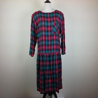 Vintage Joni Blair Dress Women Medium Maxi Pink Green Plaid Pockets Pleated