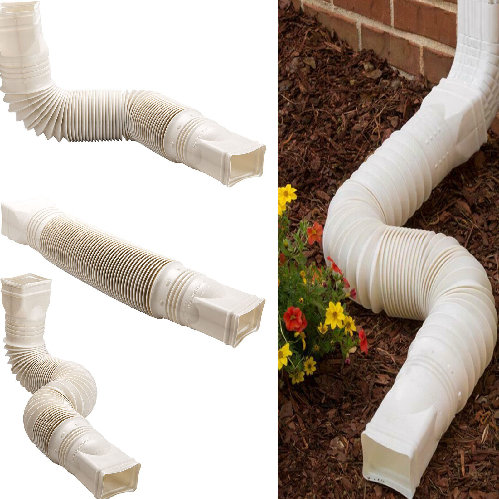 Flex Drain Downspout Extension Rain Pipe Spout Gutter Flexib