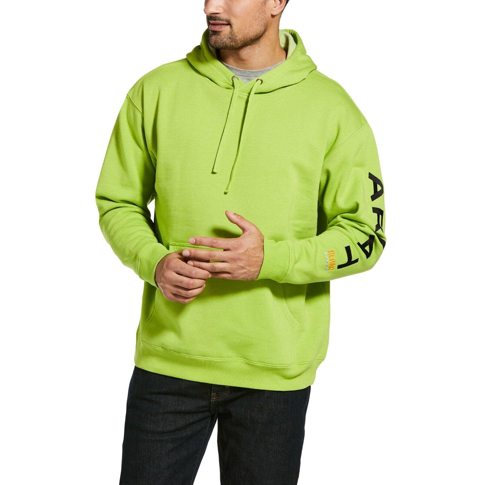 Ariat Men's Rebar Graphic Logo Lime Green & Black Work Hoodi
