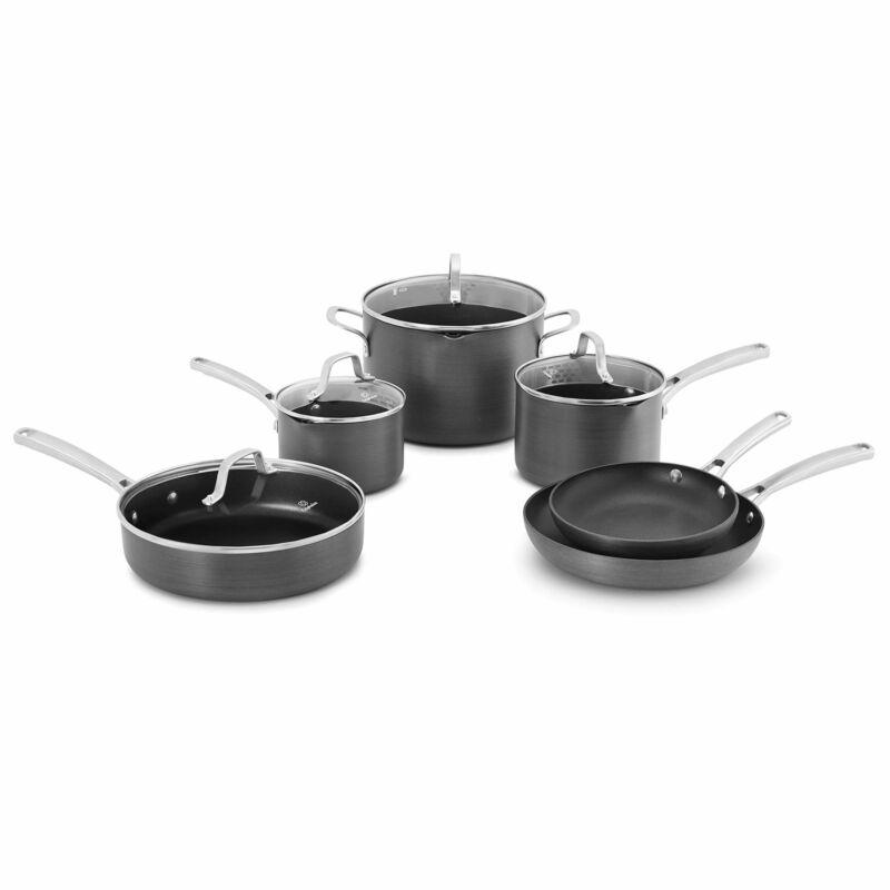 Calphalon Classic Pots and Pans Set, 10-Piece Nonstick Cookware Set, Grey