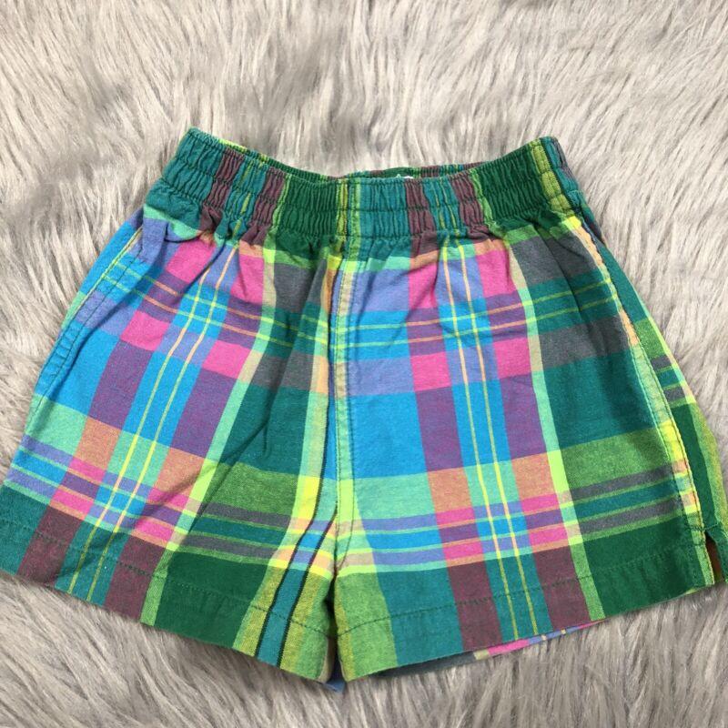 Vintage Baby Gap Girls Boys Plaid Blue Pink Green Shorts