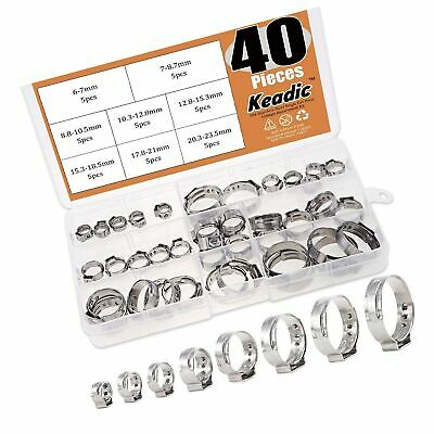 Keadic 40pcs 14-1516 Stainless Steel Single Ear Hose Clamps Clips Pex Pin...