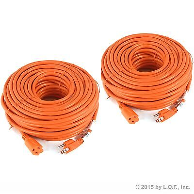 2) Premium Outdoor Extension Cord 125 Volt Cable 100ft 16/3 Indoor Contractor