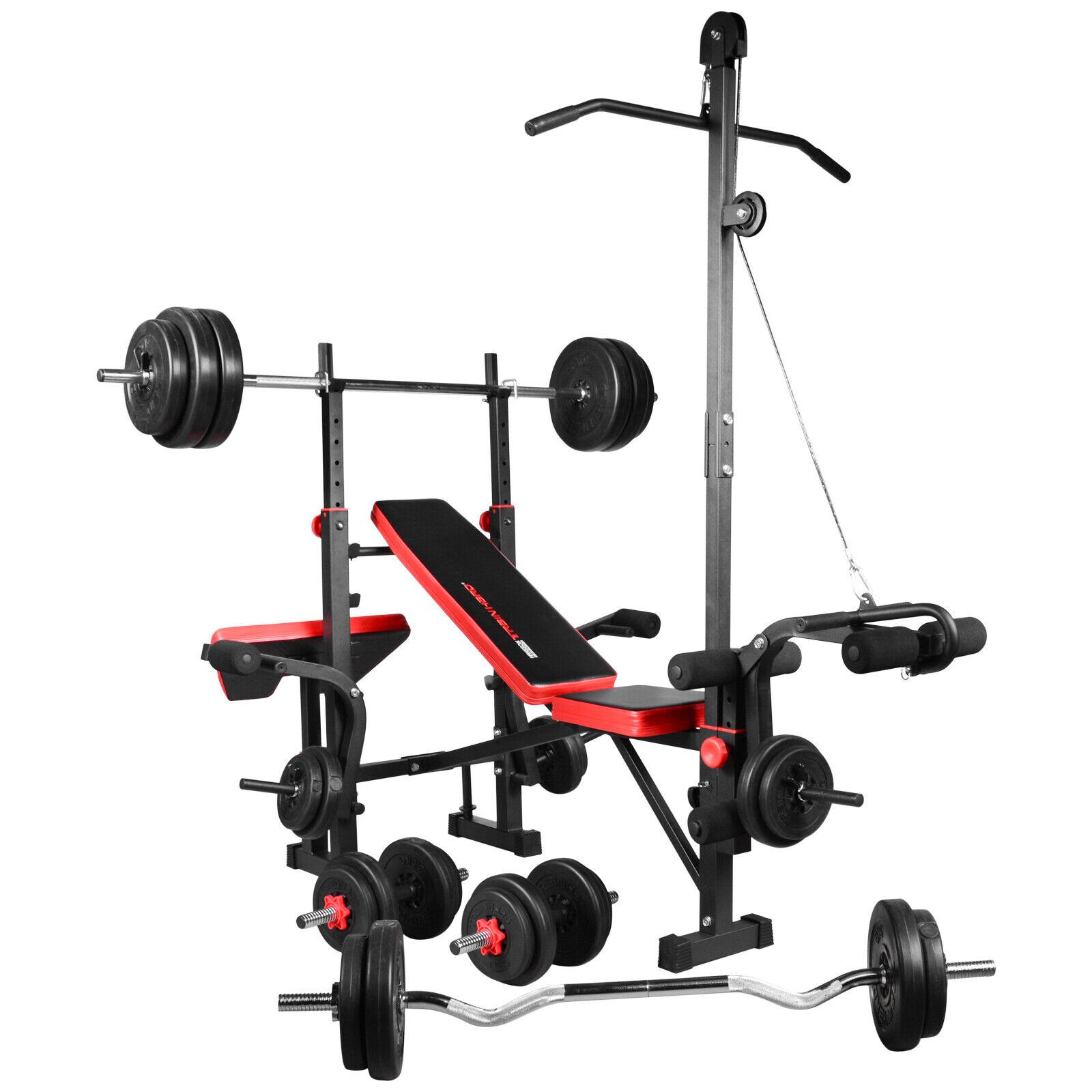 TrainHard® Hantelbank Kraftstation Trainingsbank mit Gewichte Stange 40kg-150kg