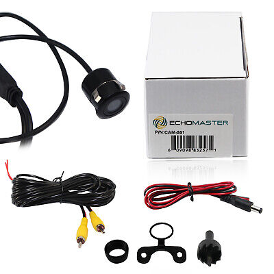 Echomaster Backup Reverse Car Camera Flush Mount or Butterfly Install CAM-551
