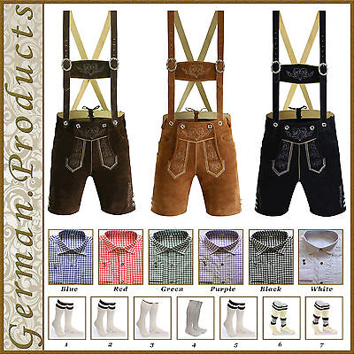 Authentic German Bavarian Oktoberfest Short Lederhosen Shirt Socks Package Set