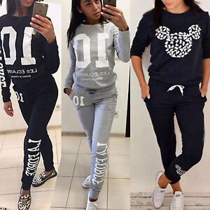 Mujer-2-piezas-Chandal-Sudadera-Sueter-Atletismo-carrera-Pantalones-De-Chandal