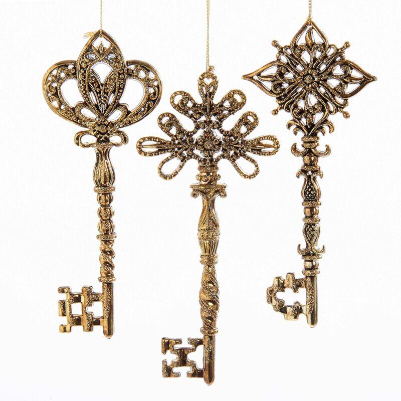 Golden Keys Glittery Chirstmas Holiday Ornaments Set of 3