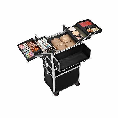 Valigia Make Up Professionale Beauty Trolley da Viaggio, Carrello Cosmetico Nero