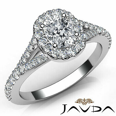 Halo Split Shank Prong Set Cushion Diamond Engagement Ring GIA H Color VS2 1 Ct