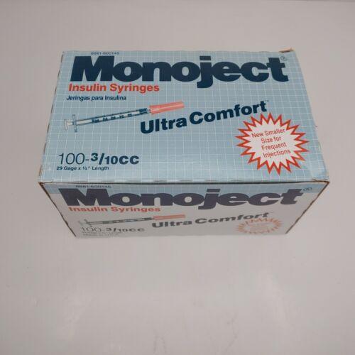 Sherwood Monoject Insulin Syringes Intra Comfort 29 Gage 1/2