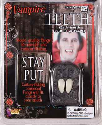 VAMPIRE STAGE FANGS TEETH w/ THERMOPLASTIC COMPOUND HALLOWEEN COSTUME ACCESSORY - Teeth Fangs