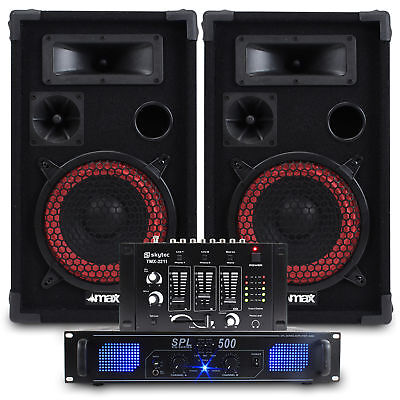 """2x Max 8"""" PA Party Speakers + Amplifier + DJ Mixer + Cables Disco System 500W"""