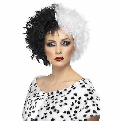 Cruella Schwarz Weiß Haar Perücke Maskenkostüm Evil Bad - Cruella Kostüm Perücke