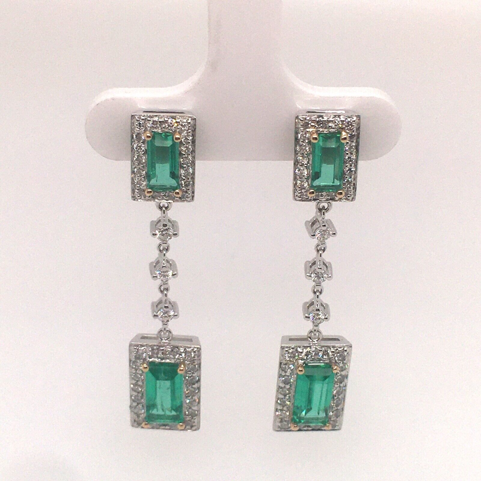 Majestic GIA Certified Colombia Emerald Earrings White Gold and Diamonds
