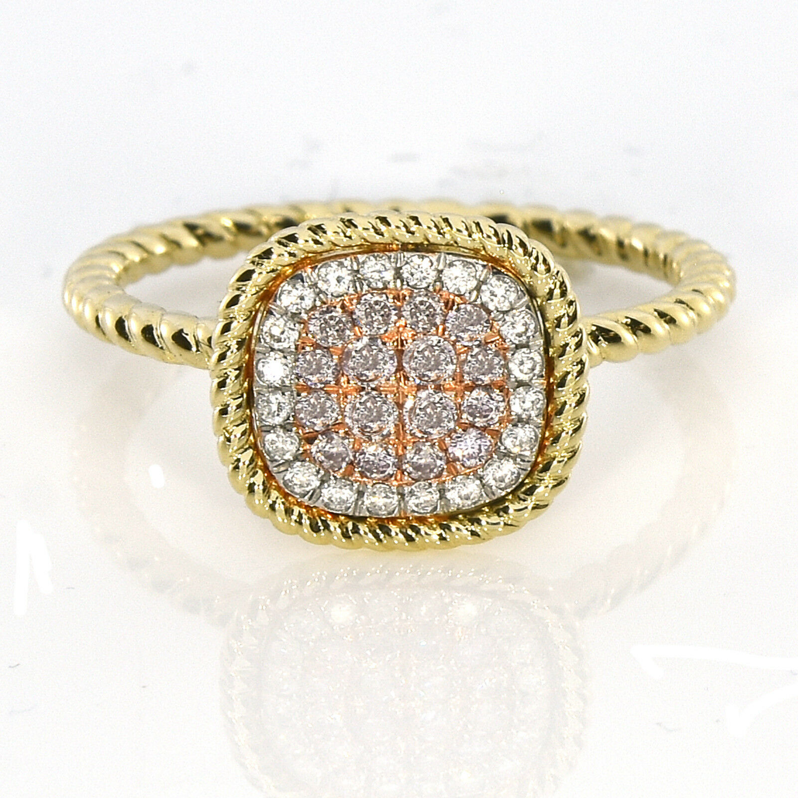 Real 0.30ct Natural Pink Purple Color Diamond Engagement Rin
