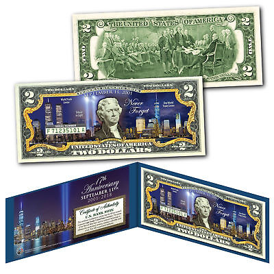 (WORLD TRADE CENTER FREEDOM TOWER Night 9/11 WTC * 17th ANNIVERSARY * US $2 Bill)