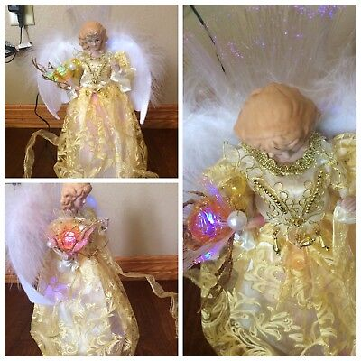 "12"" FIBER OPTIC LIGHT UP YELLOW /GOLD CHRISTMAS ANGEL TREE TOPPER TABLE TOP"