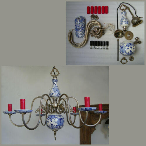 VINTAGE DELFT HOLLAND PORCELAIN BLUE WHITE CEILING FIXTURE 6 LIGHTS CHANDELIER