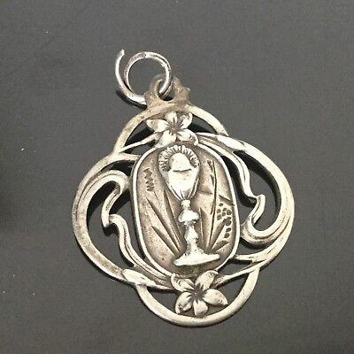 Medal Pendant Antique Silver Chalice Xixè Victorian Silver Medal 19thC