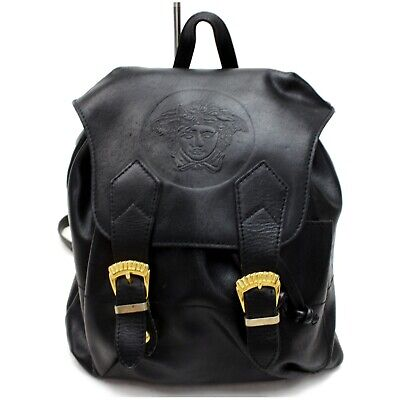 Authentic GIANNI VERSACE Couture Back Pack  Black Leather 1121193