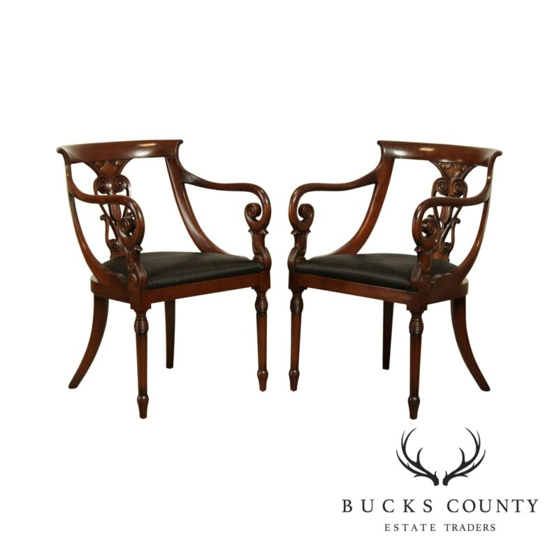 Regency Style Custom Mahogany Vintage Pair Armchairs