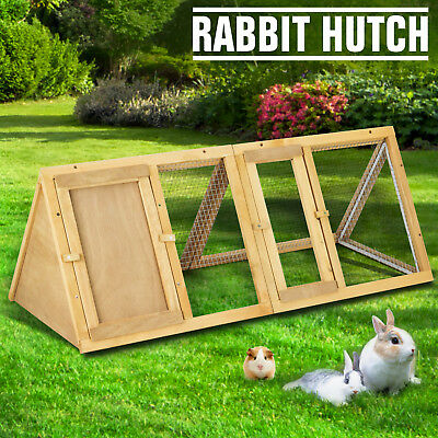 Wooden Chicken Coop A-Frame Rabbit Hutch Cage Small Animal Pet House Run Outdoor for sale  USA