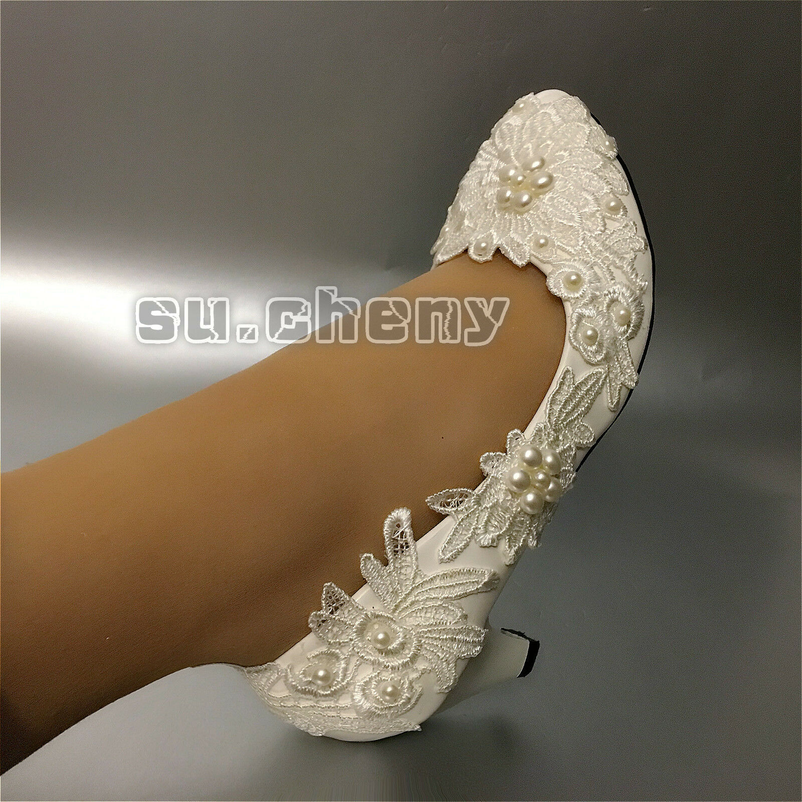 a4040fd1e71 Обувь для свадьбы su.cheny Flat 4cm 7.5cm heel white ivory pearls flats lace  Wedding Bridal shoes - 231564176725 - купить на eBay.com (США) с доставкой  в ...