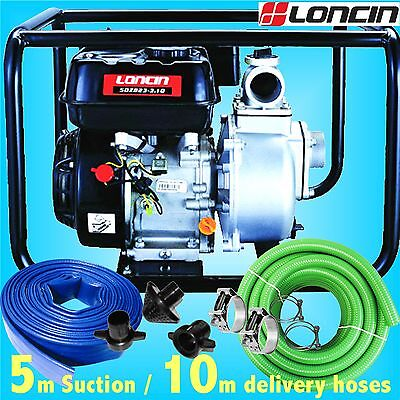 Loncin 50mm 2 Petrol Water Drainage Pump 30000L trench footing cellar flood pond