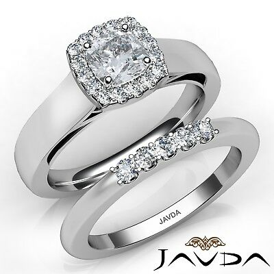 1.1ctw Solitaire Halo Bridal Cushion Diamond Engagement Ring GIA F-VVS2 W Gold